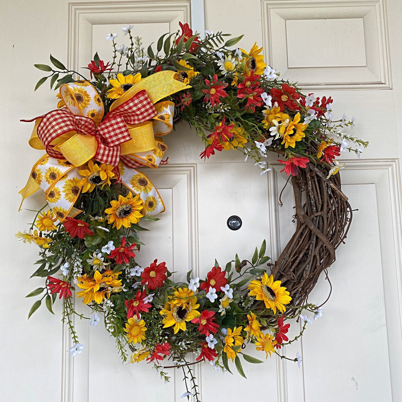 Photo of Spring Wreath, Everyday Wreath, Year Round Wreath, Grapevine Wreath, Farmhouse Wreath, Summer Wreath, Year Round Wreath, Door Wreath