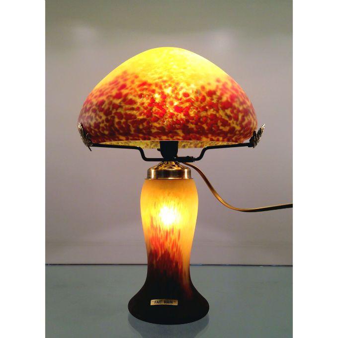 Lampe Champignon Pate De Verre Jaune Large Choix De Lampe En