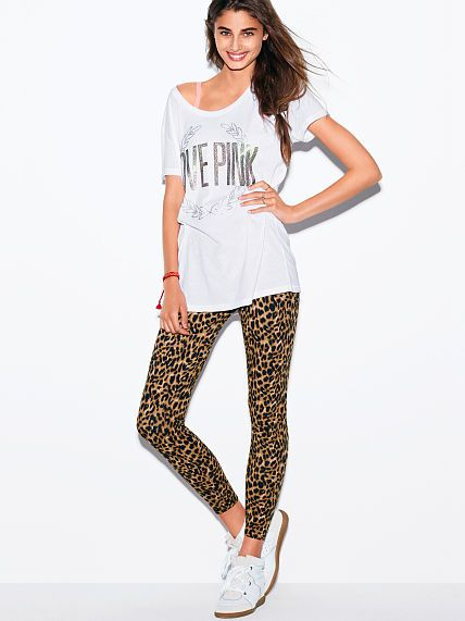 Love Pink Boyfriend Tee & Legging Gift Set - (in Cheetah - size small)