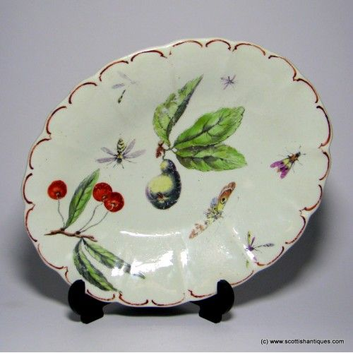 Botanical Derby Porcelain Dish C1760Marks : Unmarked