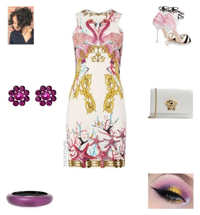 """Flamingo, Flamingo"" by irockcrowns ❤ liked on Polyvore featuring Versace, Sophia Webster, Tarina Tarantino and Alexis Bittar"