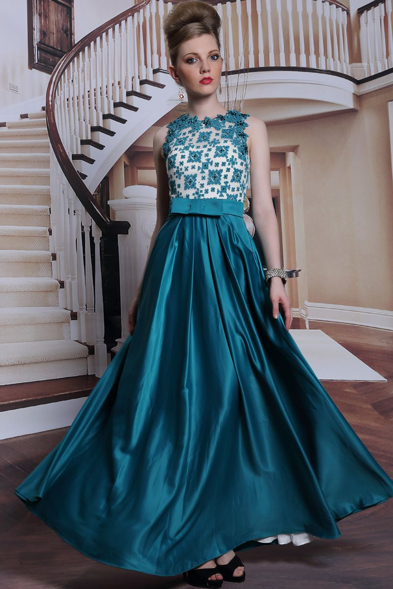 Jewel embroidery beading evening gown with sashsolydress fashion