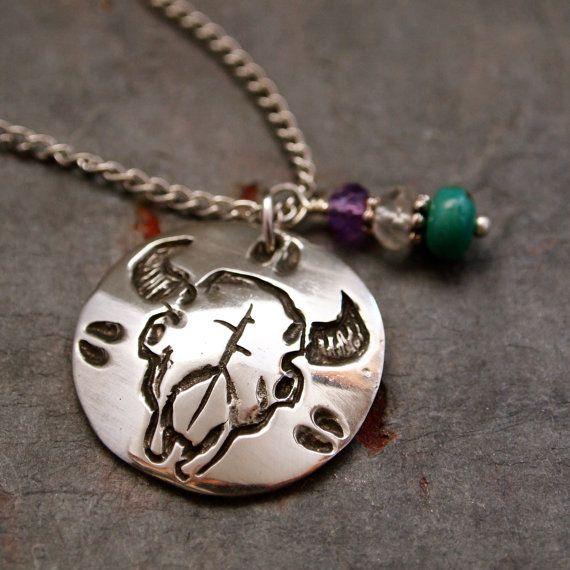 Gemstone and Buffalo Skull Necklace by wildharegems4 on Etsy, $20.00