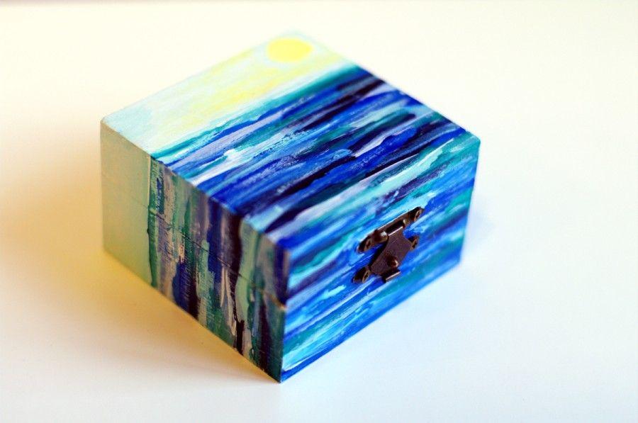 Wooden Jewelry Box Hand Painted Wood Box Trinket Box Small