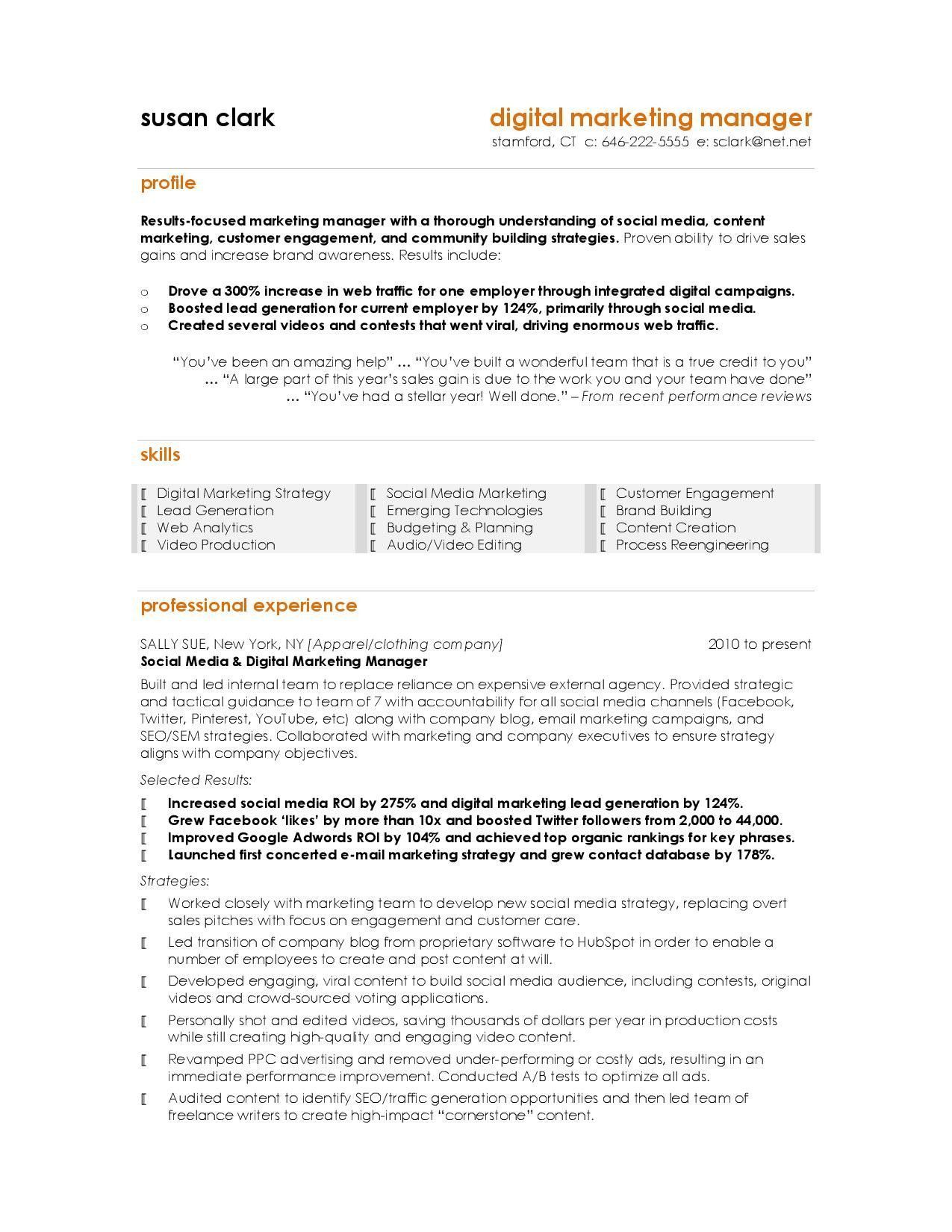 Best Marketing Resumes 4244 Marketing Resume Digital Marketing Manager Digital Marketing