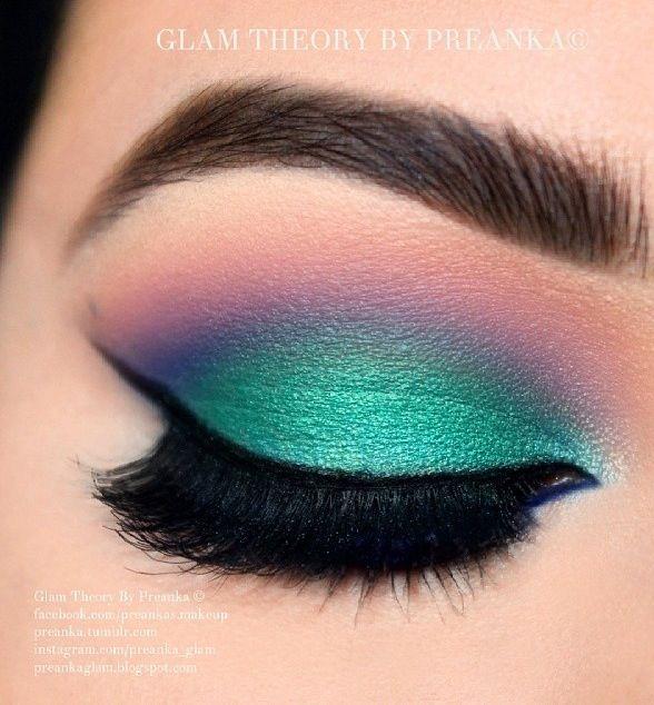 Turquoise And Purple Eyeshadow Dramatic Eye Makeup Rainbow