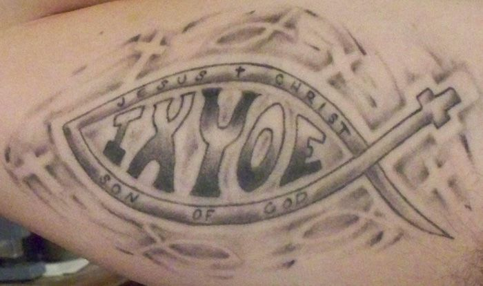 jesus fish 54 jesus fish tattoo 54 reproduced with permission rh pinterest com au Ithicus Fish Tattoo ixoye fish tattoo