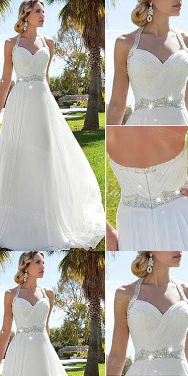 25b5ed911f Sweetheart A-line Sequined White Chiffon Wedding Dresses.Cheap Wedding  Dresses