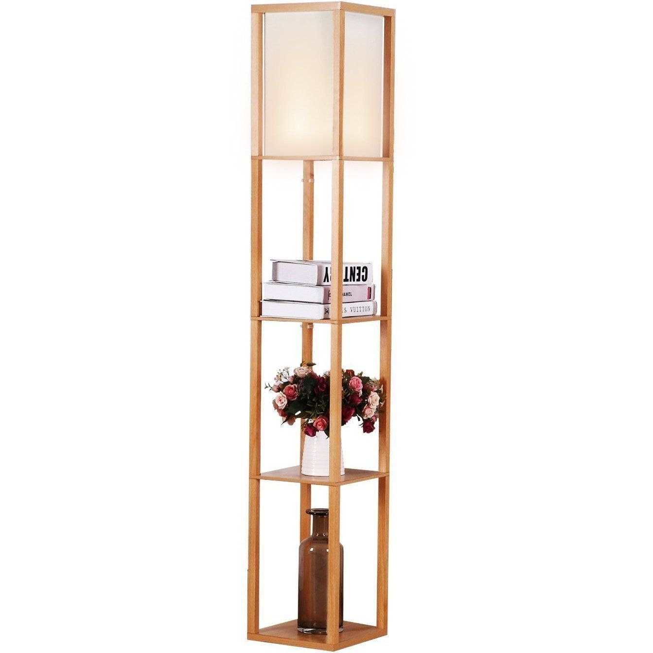 Brightech Maxwell Led Shelf Floor Lamp Modern Asian Style Standing Lamp With Soft Diffused Up Floor Lamp With Shelves Modern Floor Lamps Wooden Floor Lamps