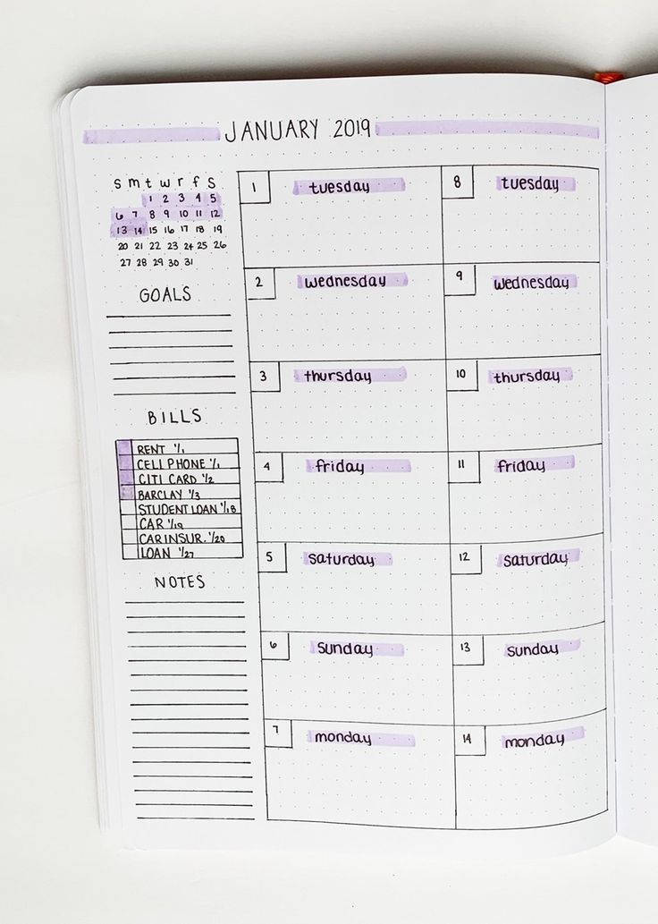 Weekly Spread Ideas For Your Bullet Journal – Sidereal Life