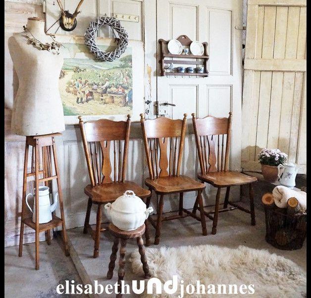 3x Stühle Landhaus Cottage Esszimmer Eiche massiv Interiors - esszimmer eiche massiv