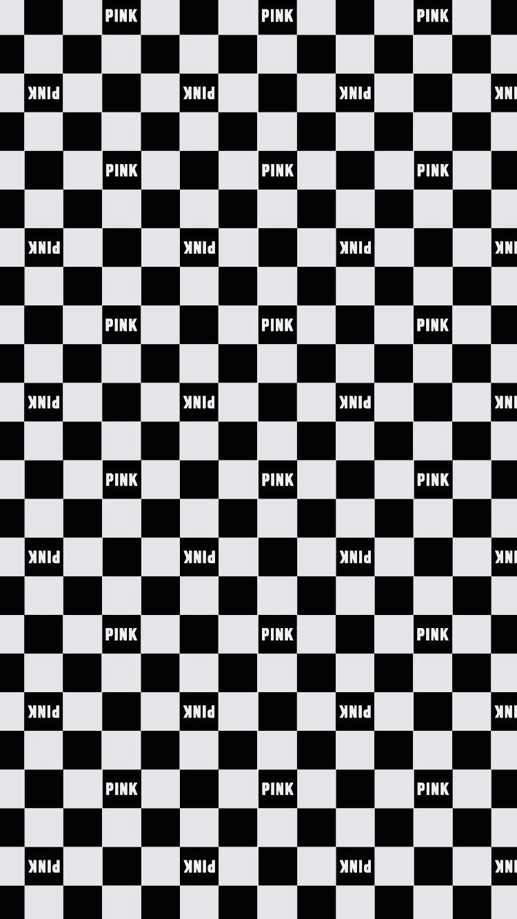 Pink Black White Checkerboard Pink Nation Wallpaper Vs Pink Wallpaper Love Pink Wallpaper