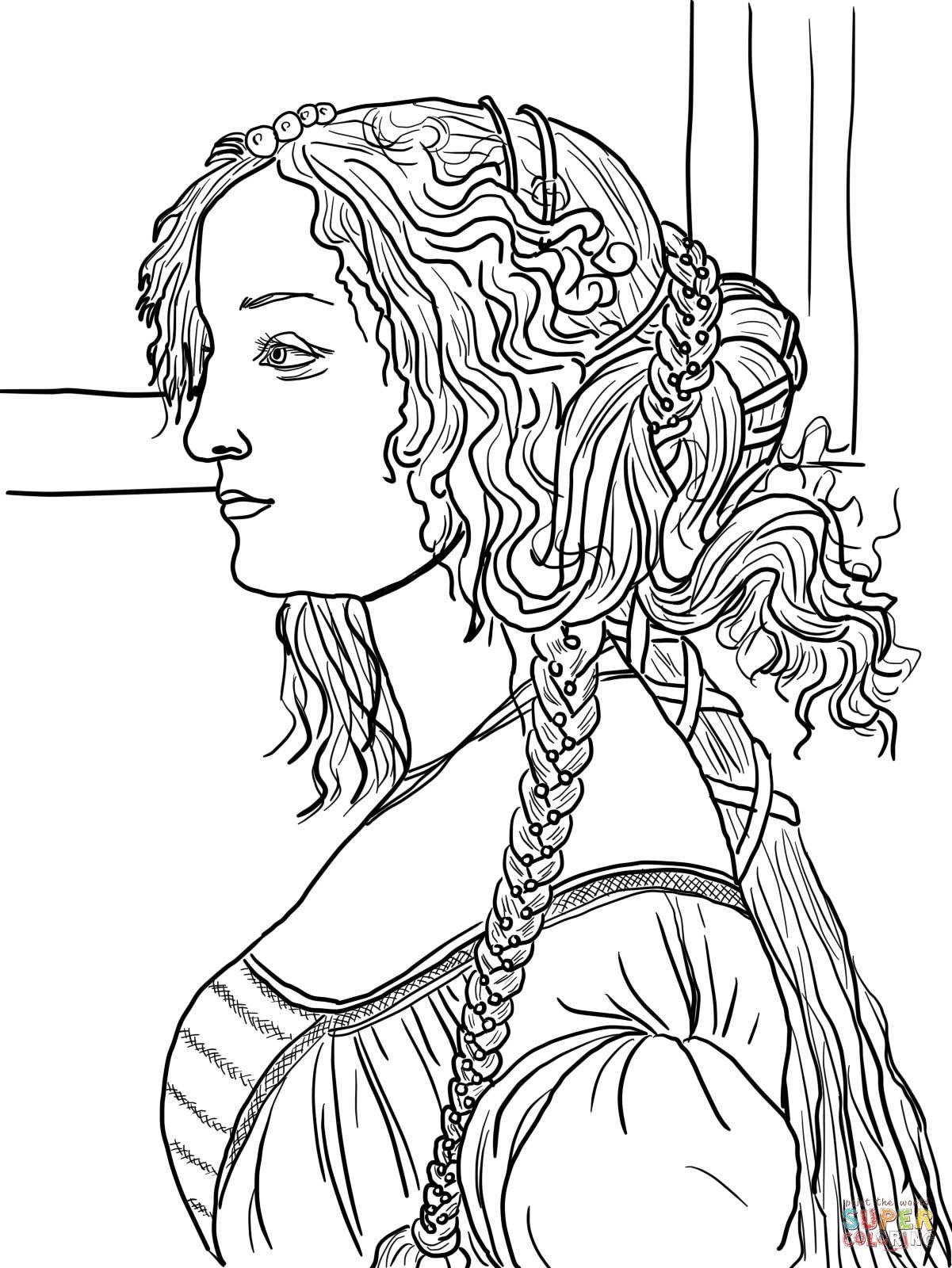 Portrait of Simonetta Vespucci by Sandro Botticelli coloring page ...