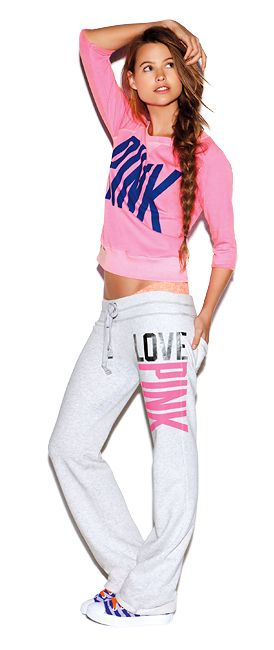 65072bd9eb4cce #VSPink I always wonder what shoes to wear when the rest of my outfit is  all pink, even underneath!