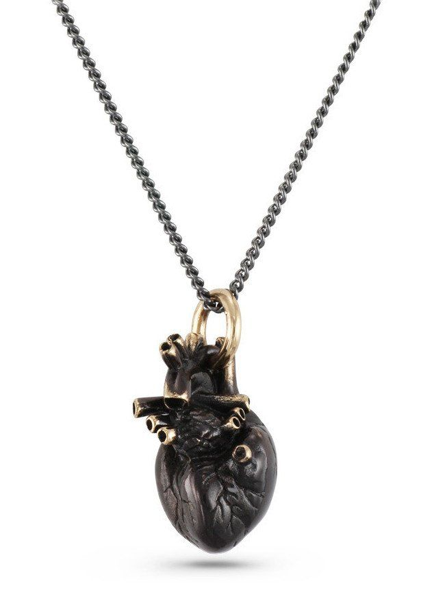 Black Anatomical Heart Necklace\