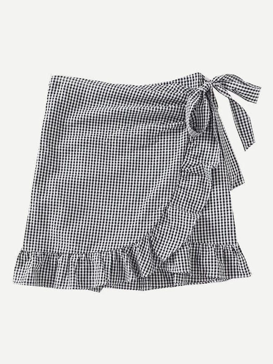 ce57837d9b Gingham Ruffle Trim Overlap Skirt -SheIn(Sheinside)   style   Skirt ...