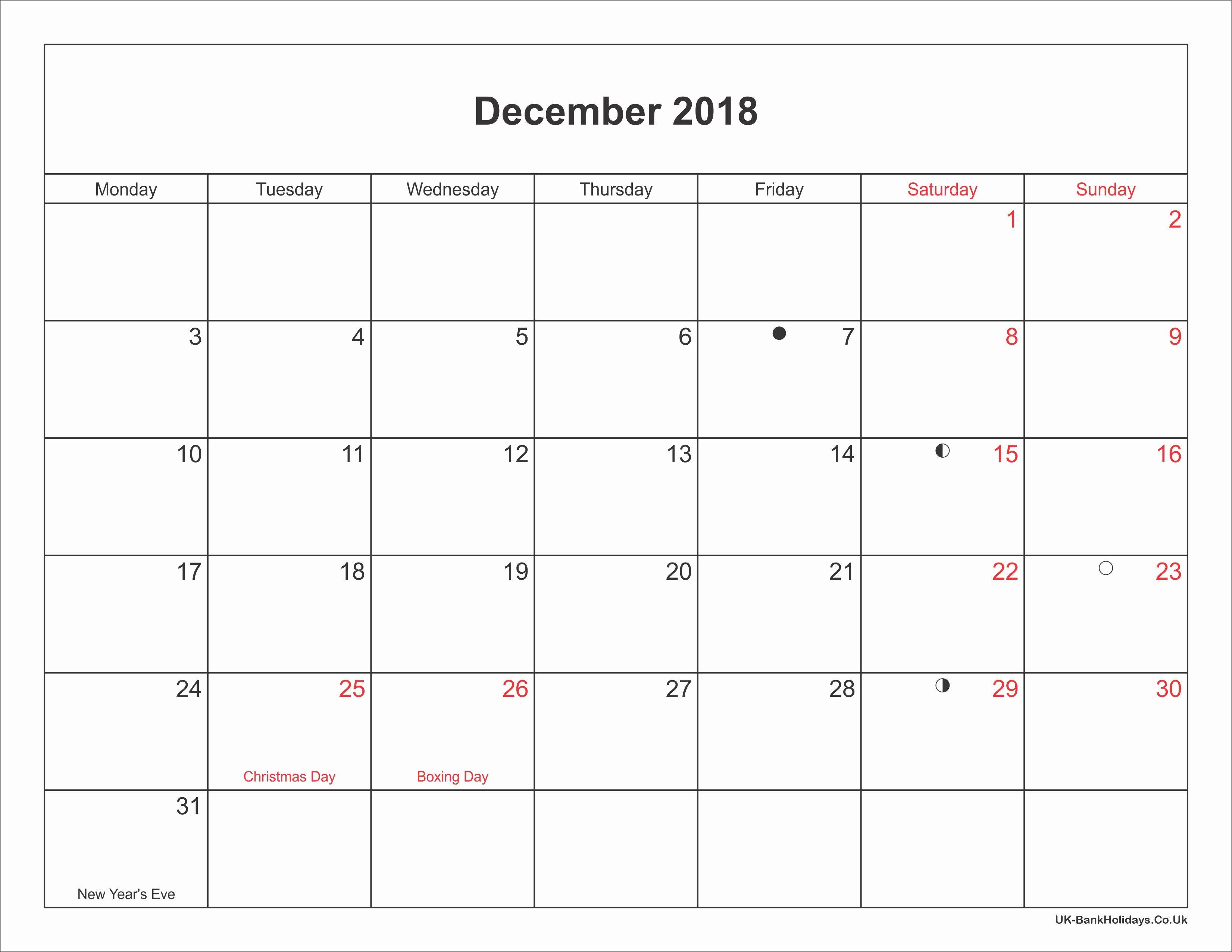 December 2018 Calendar January Calendar Printable Calendar