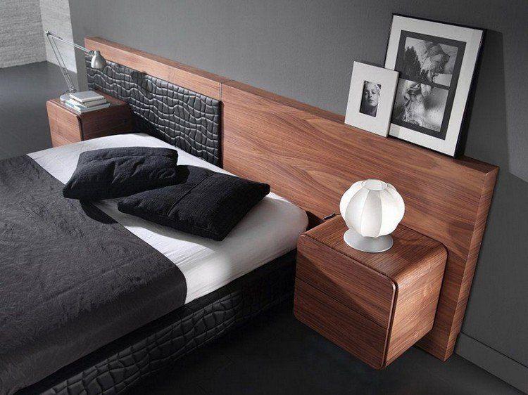 table de chevet suspendue en bois massif, peinture grise, coussins - Peindre Table De Chevet