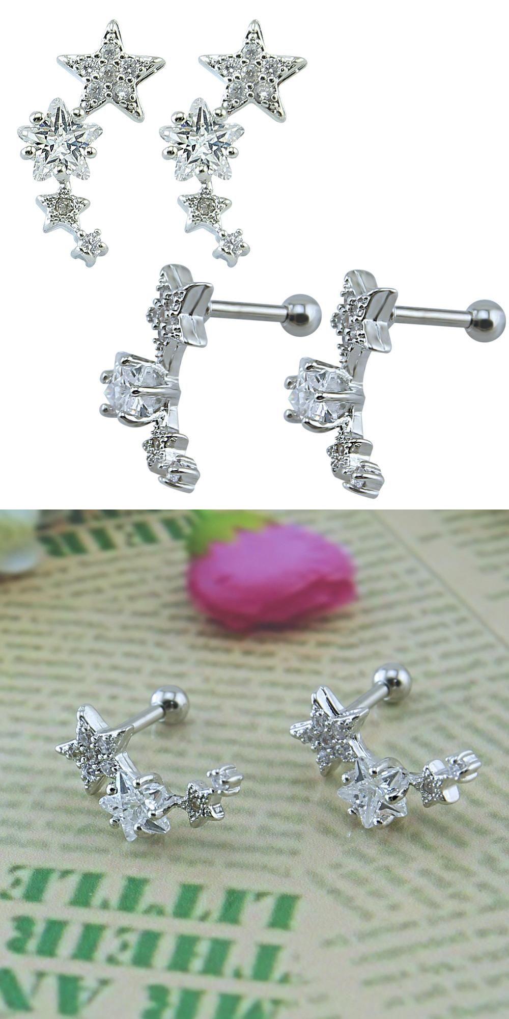 Body piercing earrings  Visit to Buy Meteor Star Earrings Crystal Stud earrings Cartilage