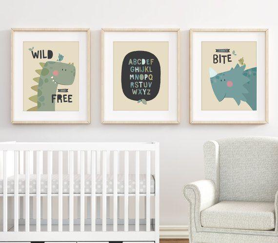 Dinosaur Print Nursery Prints Wall Art Set Of 3