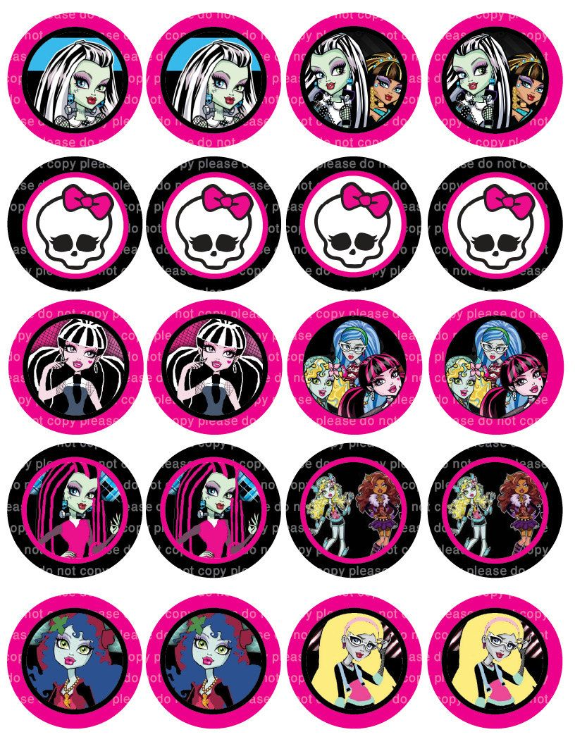 Peachy Monster High Stickers Cupcake Toppers 2 Inch Circles Digital Personalised Birthday Cards Beptaeletsinfo