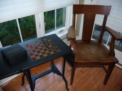 chess table make from typewriter table