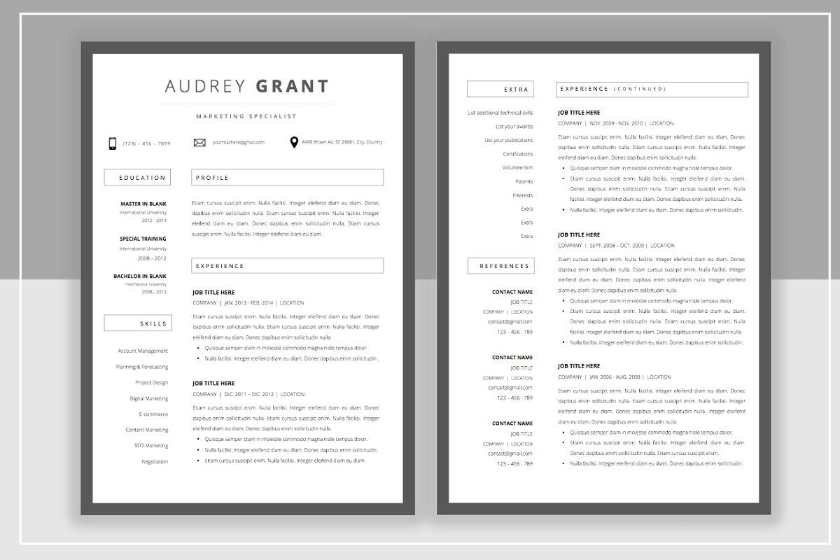 Resume Template & Cover Letter in 2020 Resume template