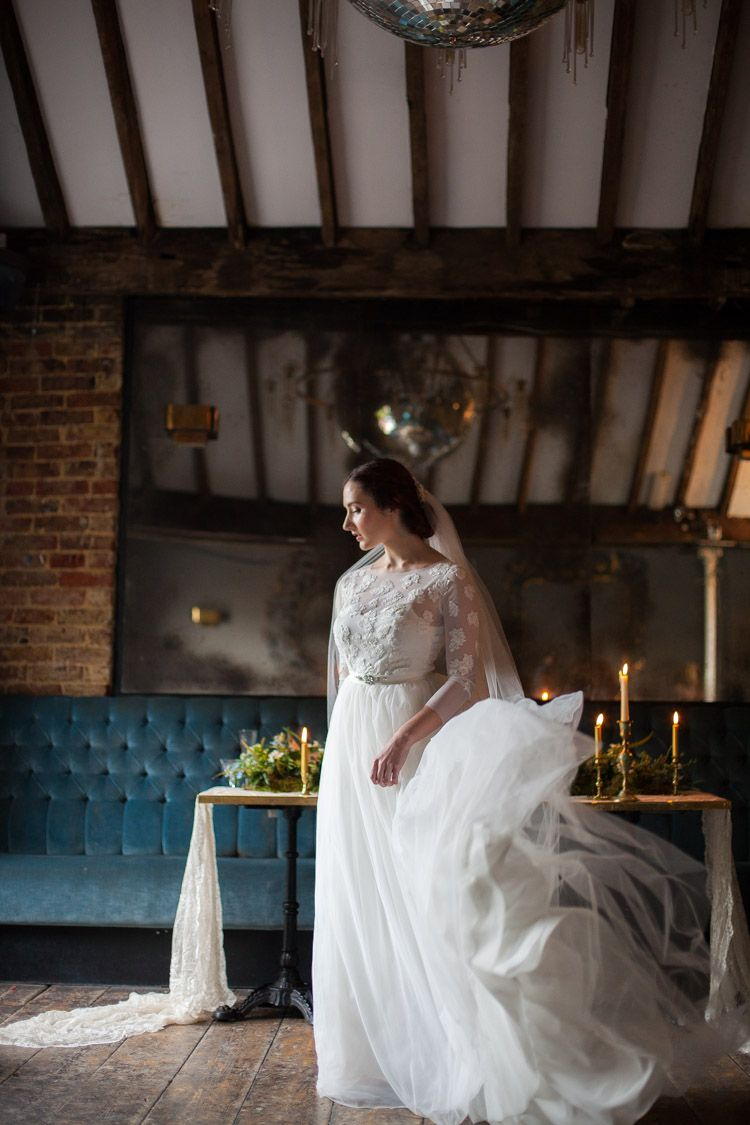 Lace Tulle Dress Sleeves Gown Bride Bridal Blue Gold Luxe Victorian Wedding Ideas http://www.francescarlisle.co.uk/