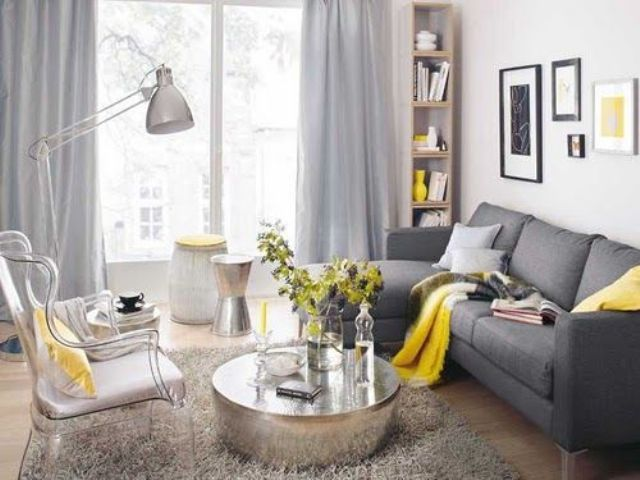 Marvelous Dark Grey Sofa, Dove Grey Curtains, Yellow Textiles And A Vase