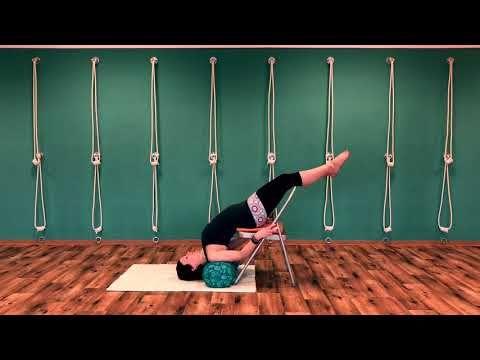schulterstandsequenz mit stuhl  youtube  iyengar yoga