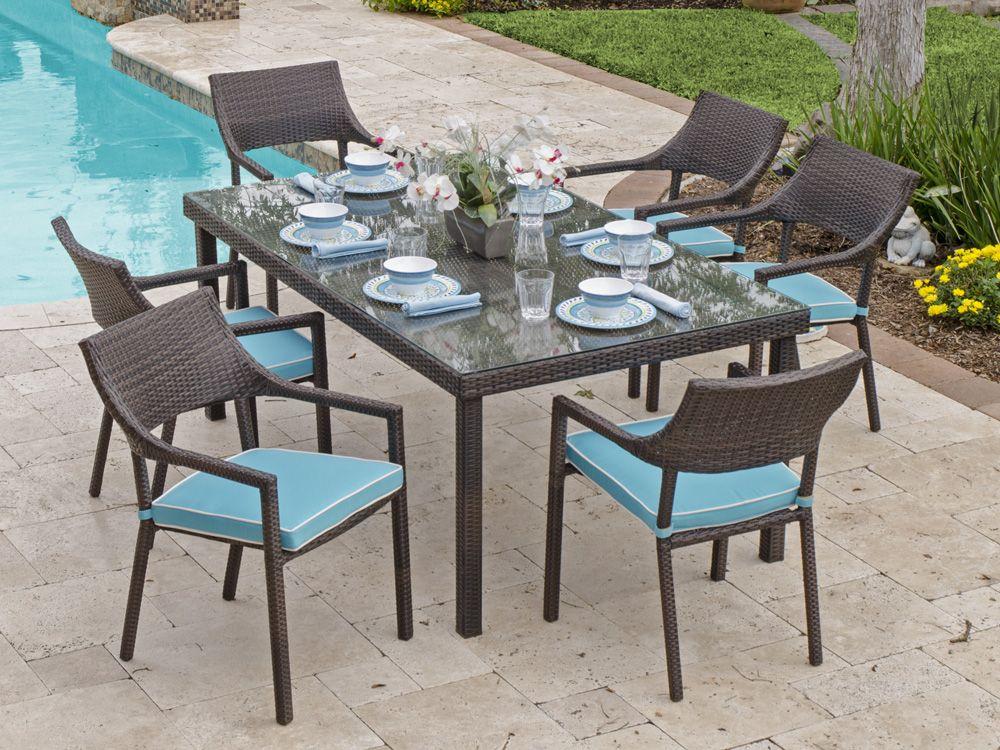 Fiji 7 Pc Aluminum Woven Resin Wicker Dining Set With 72 X 42 Rectangular Gl Top Table
