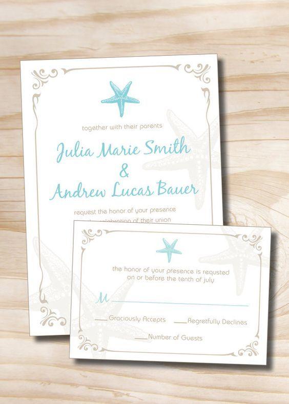 Strand Hochzeiten · Termine · VINTAGE STARFISH Hochzeitseinladung Und Von  PaperHeartCompany: