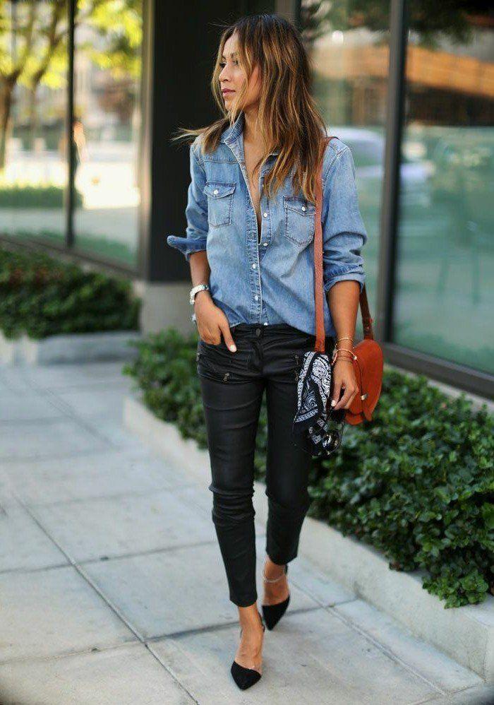 1001 id es avec quoi porter une chemise en jean mode pinterest quoi porter chemise en. Black Bedroom Furniture Sets. Home Design Ideas