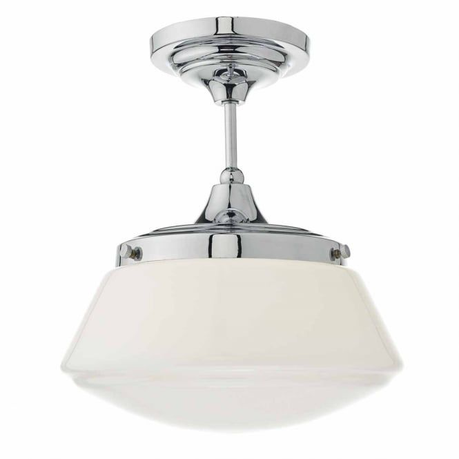 Modern classic design polished chrome bathroom ceiling light with opal glass great in modern or traditional bathroom