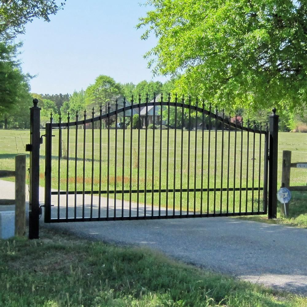 Mighty Mule St Augustine 12 Ft W X 5 Ft H Powder Coated Steel Single Driveway Fence Gate G1512 Kit Th In 2020 Driveway Gate Iron Gates Driveway Farm Gate Entrance