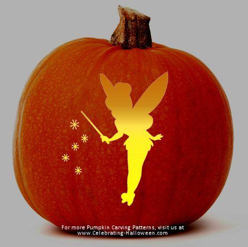Tinkerbell fairy stencil free pumpkin carving