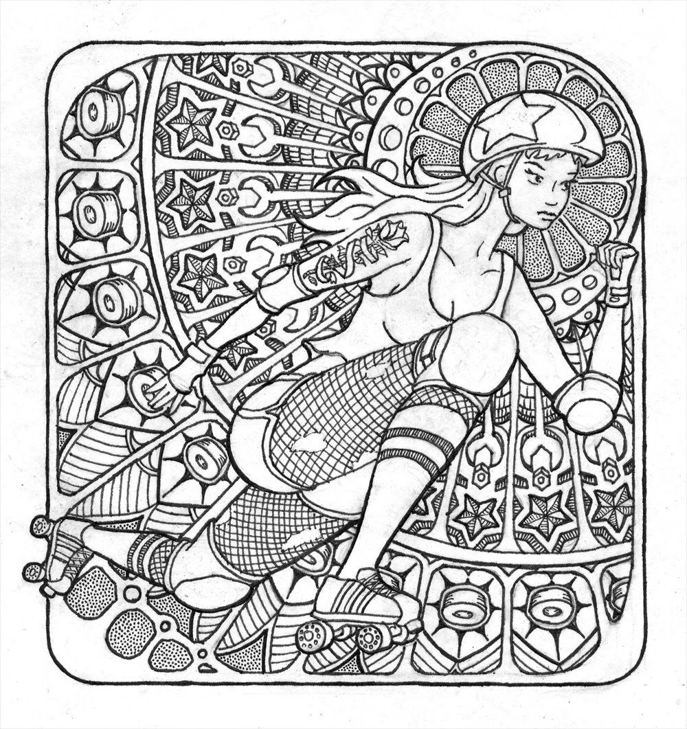 roller derby pen ink drawing like a coloring page for derby girls
