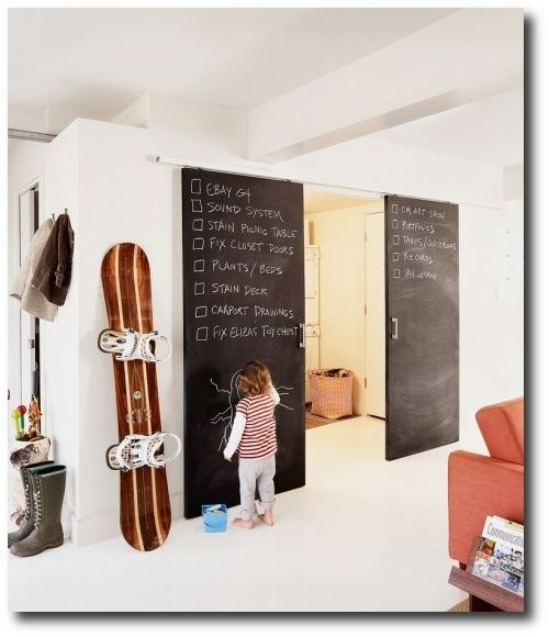 Chalk Board from floor to ceiling. Painting designs in top ...
