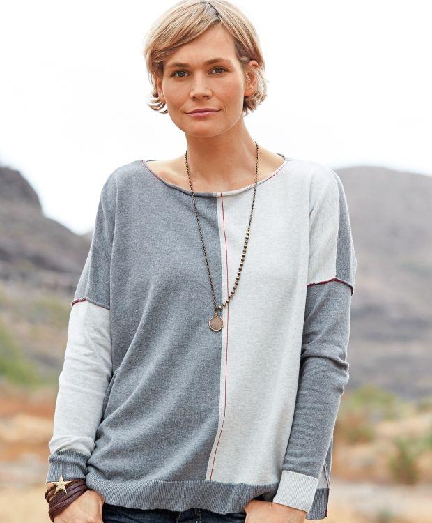 13bd999c Redhill strikket genser Fin strikkegenser til dame med båthals og  rullekant. Behagelig vid modell med