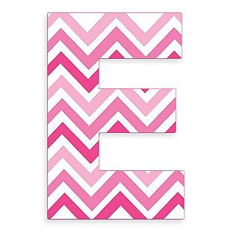 The Letter E In Pink Chevron Love It Random Wall Art