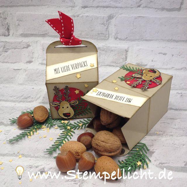 weihnachtliche Leckereien-Box mit Rentier aus dem Stampin´Up Set Ausgestochen weihnachtlich