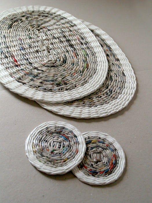 Paper Coasters Blureco Craftwork Wicker Paper Straw Weaving