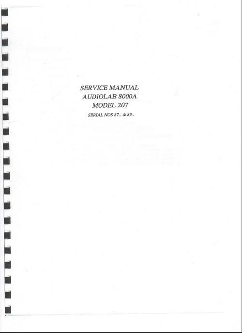 Audiolab 8000A int amplifier Original Service Manual in PDF