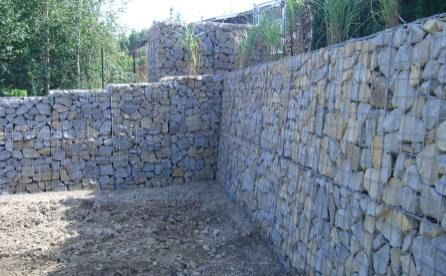 Gabion retaining wall Chainlink type boxes filled with