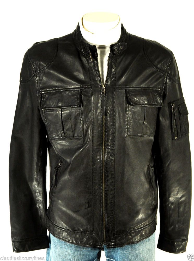 5f6557669 Details about NEW Mens CHAPS Black LEATHER Zippered Jacket XL ** NEW ...