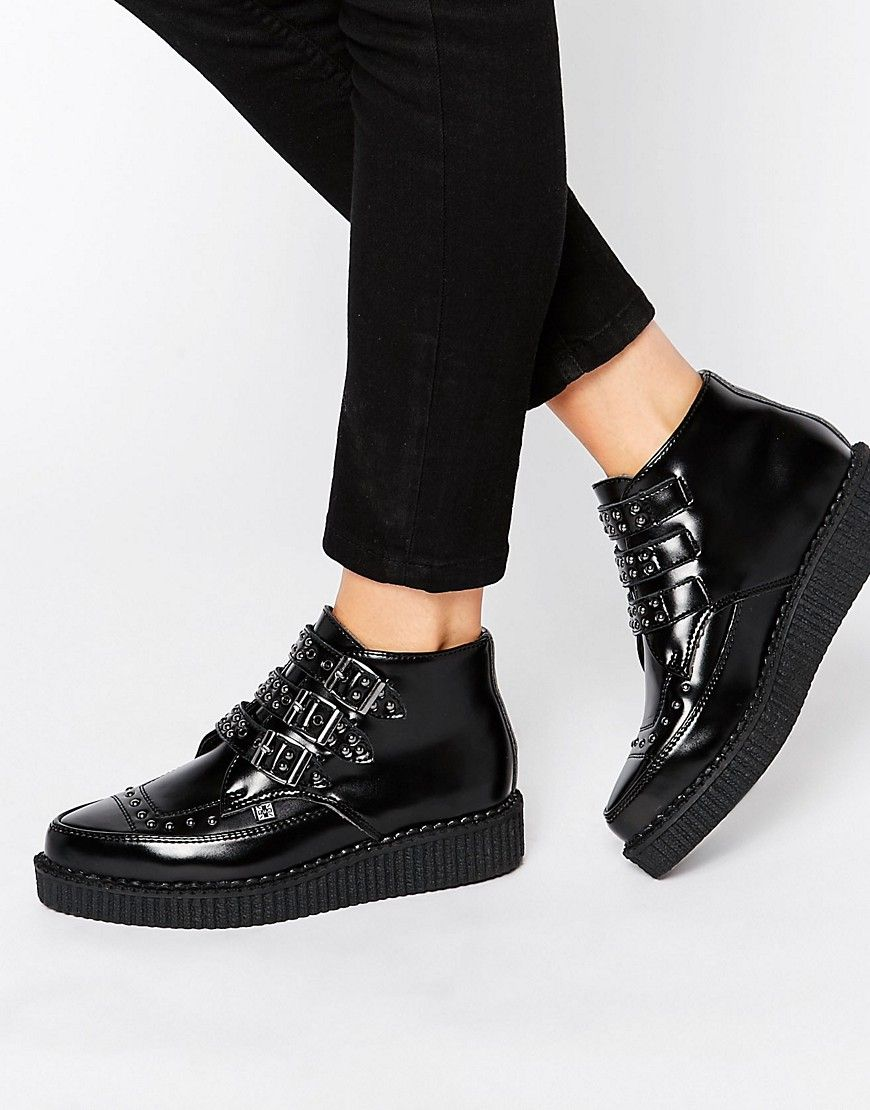 Stud Point Creeper Leather Flat Ankle Boots at ASOS.