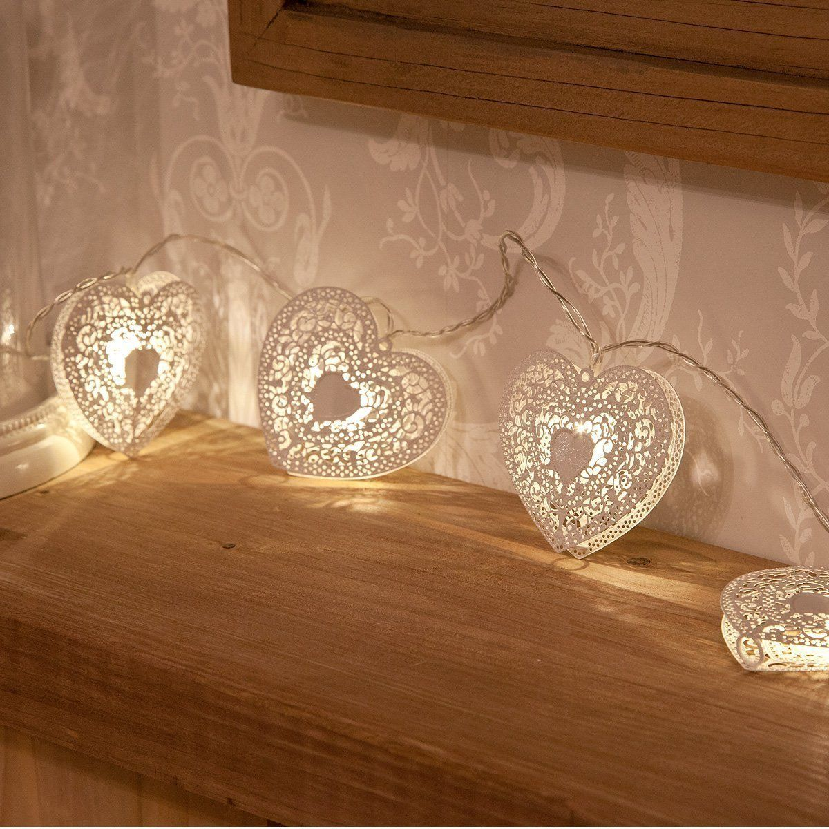 with february 14 approaching set the mood with romantic valentine lighting heart shaped string - Valentine String Lights