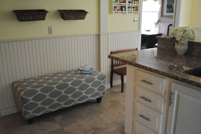 The Chronicles of Home: DIY Upholstered Bench with Nailhead Trim- wall divider- just a simple pillar...