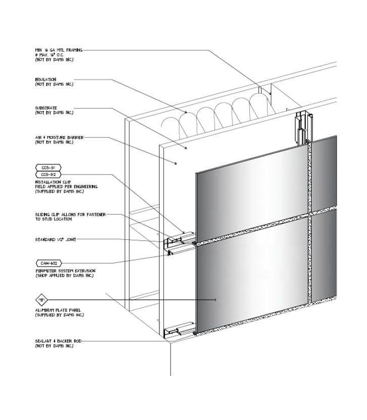 Aluminium Composite Panel Cladding Details : Wet joint metal cladding systems details artist s