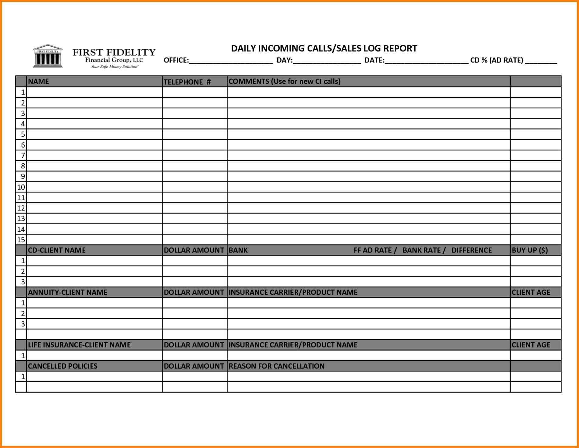 Sales Call Report Template Excel - Sample Templates ...